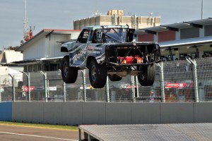 The Stadium Super Trucks were at their dramatic high flying best and Brabham was in the mix. PICS: SST/DirtCOMP