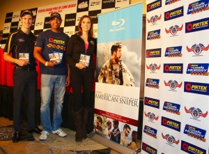 Matt Brabham, Sonny Saghera and Taya Kyle with the American Sniper - Chris Kyle Commemorative Edition Blu-Ray