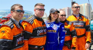 Taya with IndyCar's first responders - the Holmatro Safety Crew