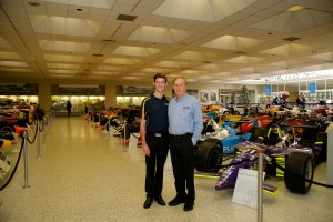 Matt Brabham with his father Geoff at the Indianapolis Motor Speedway Museum