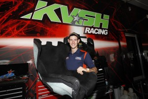 Matt Brabham with his IndyCar seat that sits inside the KV Racing Technology truck